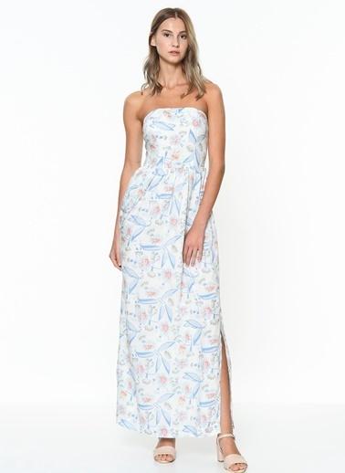 Çiçek Desenli Straplez Uzun Elbise-Tommy Hilfiger